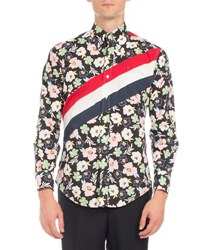 Thom Browne Floral Print Diagonal Stripe Shirt Red White Navy Black