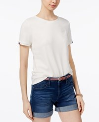 Tommy Hilfiger Embroidered T Shirt Only At Macy's Ivory