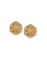 Jose And Maria Barrera Cabochon Beaded Button Clip Earrings Beige Golden