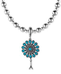 American West Turquoise Blossom Pendant Necklace 3 1 3 Ct. T.W. In Sterling Silver 7 3 Extender