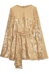 Caroline Constas Anya Sequined Georgette Mini Dress Gold
