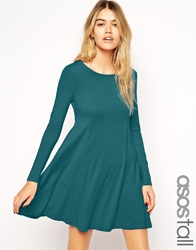 Asos Tall Swing Dress With Long Sleeves And Seam Teal