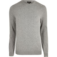 River Island Mens Grey Knit Mesh Panel Jumper