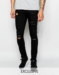 Underated Skinny Biker Jeans With Distressing Black