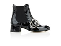 Miu Miu Women's Embellished Buckle Patent Leather Chelsea Boots Black