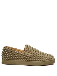 Christian Louboutin Roller Boat Spike Embellished Slip On Trainers Khaki
