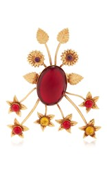 Rodarte Gold Floral Burst Ring With Ruby Glass Cabochons Red