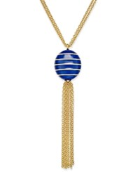 Charter Club Erwin Pearl Atelier For Gold Tone Striped Ball Tassel Necklace Only At Macy's Blue