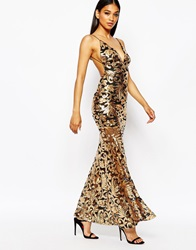 Club L Showstopper Open Back Sequin Maxi Dress With Fishtail Goldblack