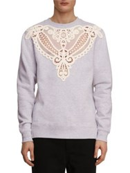 Burberry Brushed Back Lace Cutout Jersey Sweatshirt Light Grey