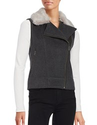 Helene Berman Faux Fur Trimmed Moto Vest Grey
