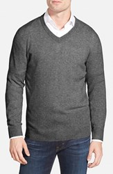 Men's Big And Tall Nordstrom Cashmere V Neck Sweater Grey Charcoal Heather