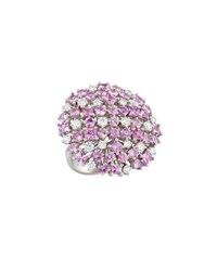 Roberto Coin 18K Pink Sapphire And White Diamond Cluster Ring Size 6.5