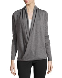 Max Studio Wrap Front Long Sleeve Sweater Steel