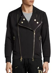 Balmain Zip Front Moto Jacket Black