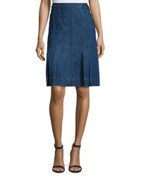 Michael Kors Pleated Denim A Line Skirt Maritime Medium Blue