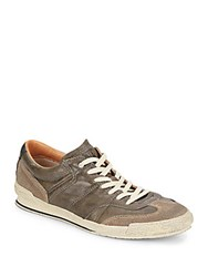Frye Snyder Runner Leather And Suede Sneakers Charcoal