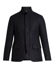 Giorgio Armani Quilted Wool Blend Jacket Navy