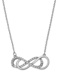 Macy's Diamond Double Infinity Necklace In Sterling Silver 1 4 Ct. T.W.