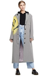 Alexander Wang Drop Shoulder Coat With Spray Paint Happy Black White