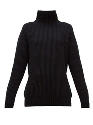 Hillier Bartley Ribbed Roll Neck Cashmere Sweater Black