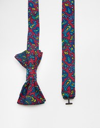 Asos Bow Tie With Paisley Print Burgundy