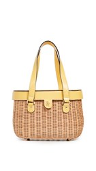 Frances Valentine Arielle Wicker Satchel Natural Canary