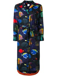 Paul Smith Fish Print Shirt Dress Blue
