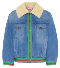 Gucci Denim Jacket With Faux Shearling Blue