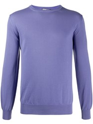Canali Long Sleeve Fitted Jumper Purple