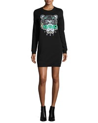 Kenzo Long Sleeve Embroidered Tiger Sweaterdress Black Size Medium
