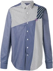 Loewe Panelled Striped Shirt Men Cotton 41 Blue