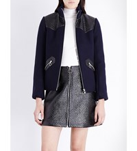 Maje Biker Vinyl Detail Wool Blend Jacket Navy