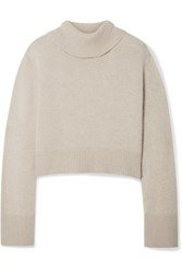Co Cropped Cashmere Turtleneck Sweater Sand