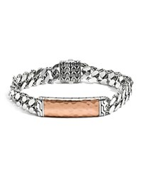 John Hardy Men's Sterling Silver And Bronze Palu Medium Gourmette Chain Id Bracelet Bronze Silver