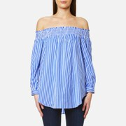 Polo Ralph Lauren Women's Long Sleeve Off The Shoulder Shirt Blue White