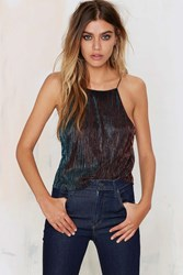 Nasty Gal Disco Technician Halter Top Blue