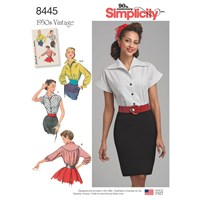 Simplicity Vintage 1950'S Blouse With Cummerbund Sewing Pattern 8445
