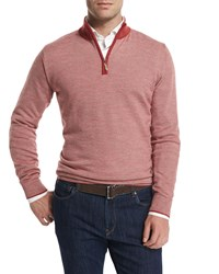 Peter Millar Contrast Collar Quarter Zip Sweater Summer Coral Sumcor