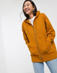 Monki Joa Zip Through Hoodie In Tan