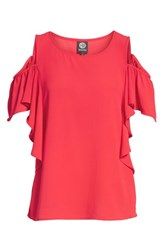 Bobeau Cold Shoulder Ruffle Sleeve Top Red Saucy