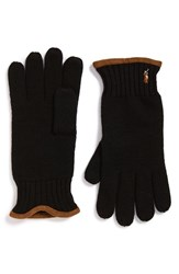 Men's Polo Ralph Lauren Merino Wool Gloves Black Polo Black