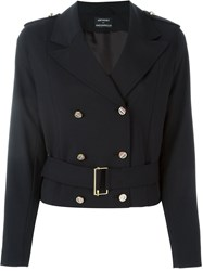 Anthony Vaccarello Double Breasted Military Jacket Blue