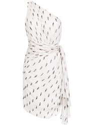 Tufi Duek One Shoulder Printed Dress White