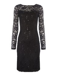 Js Collections Long Sleeve Dress With Sequin Lace Black