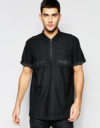 Asos Denim Military Overhead Shirt With 2 Pockets In Short Sleeve Black
