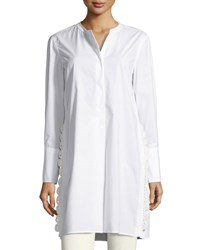 Isabel Marant Crochet Side Poplin Tunic Blouse White