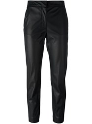 Msgm Leather Accent Cropped Trousers Black