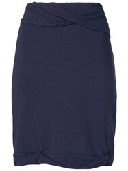 Romeo Gigli Vintage Draped Mini Skirt Purple