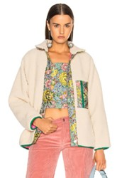 Sandy Liang Bayside Faux Sherpa Jacket In Neutrals Floral Neutrals Floral